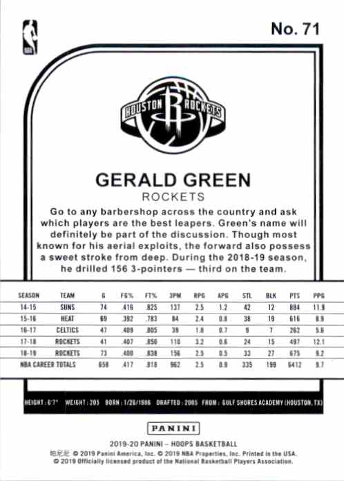 2019-20 Hoops Gerald Green #71 card back image