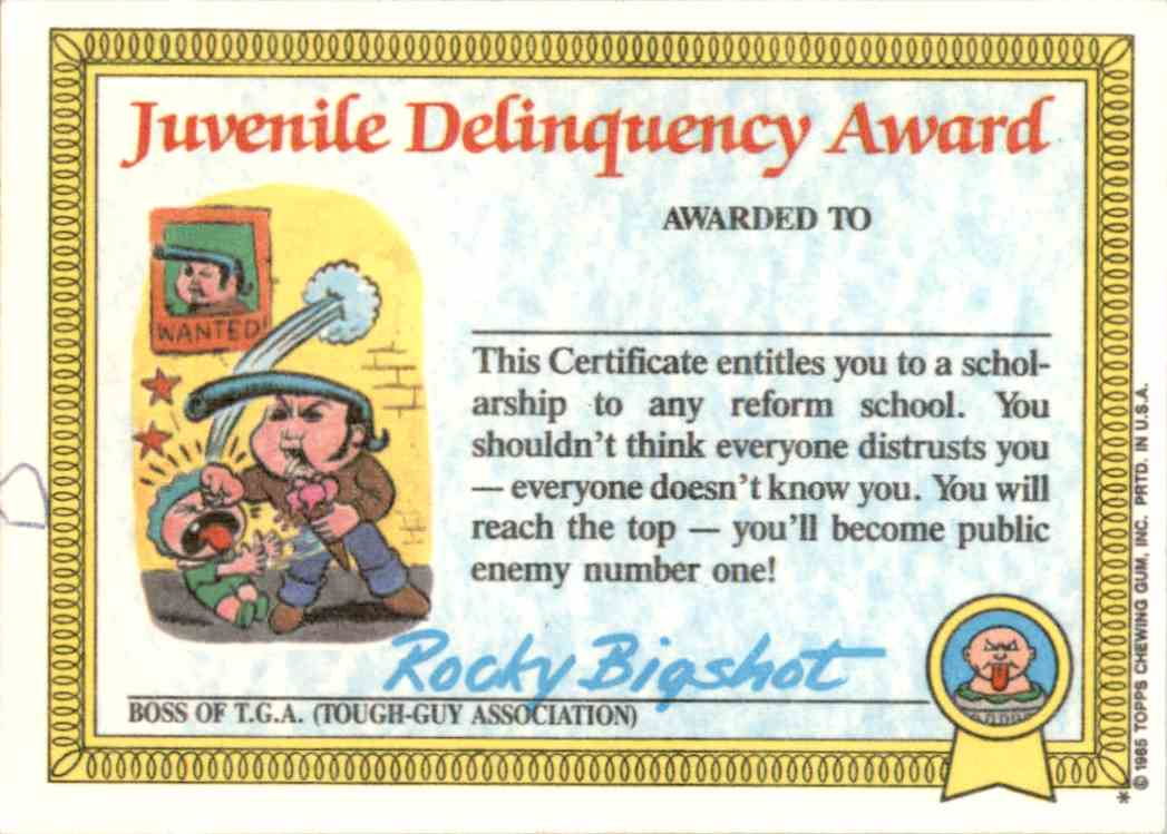 1985 Garbage Pail Kids Series 1 Stormy Heather Juvenile Delinquency Award Back #7A card back image