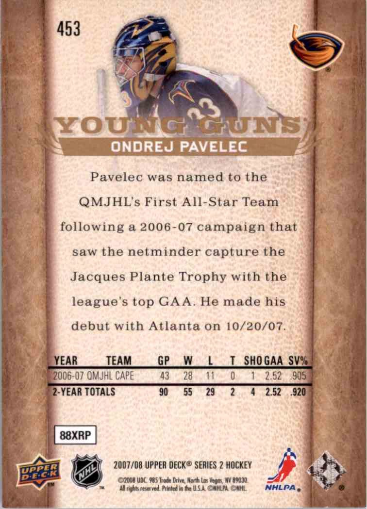 2007-08 Upper Deck Young Guns Yg Ondrej Pavelec #453 card back image