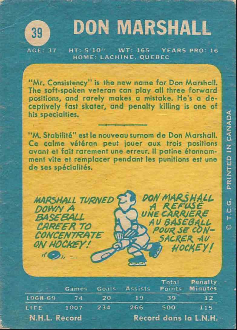 1969-70 O-Pee-Chee Don Marshall #39 card back image
