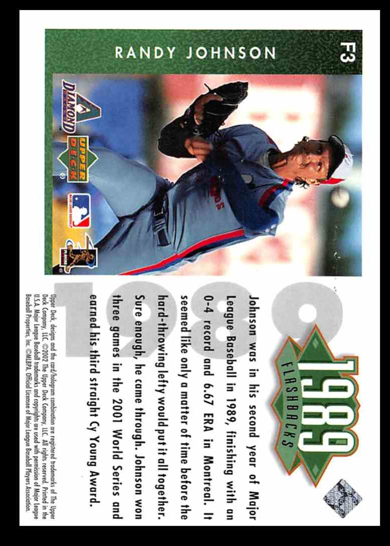 2002 Upper Deck Authentics Flashbacks Randy Johnson #F3 card back image