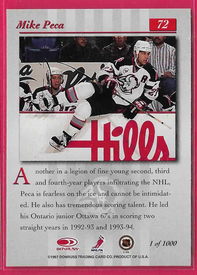 1997-98 Donruss Studio Silver Press Proof Mike Peca #72 card back image