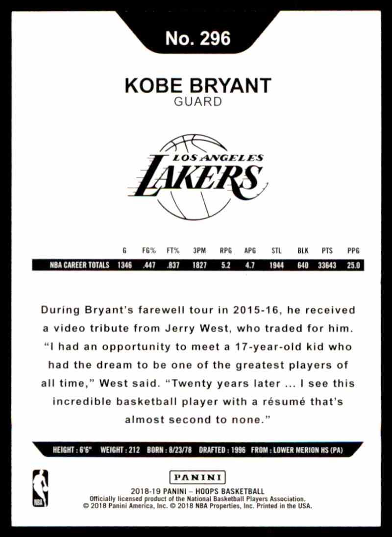 2018-19 Panini NBA Hoops Kobe Bryant #296 card front image