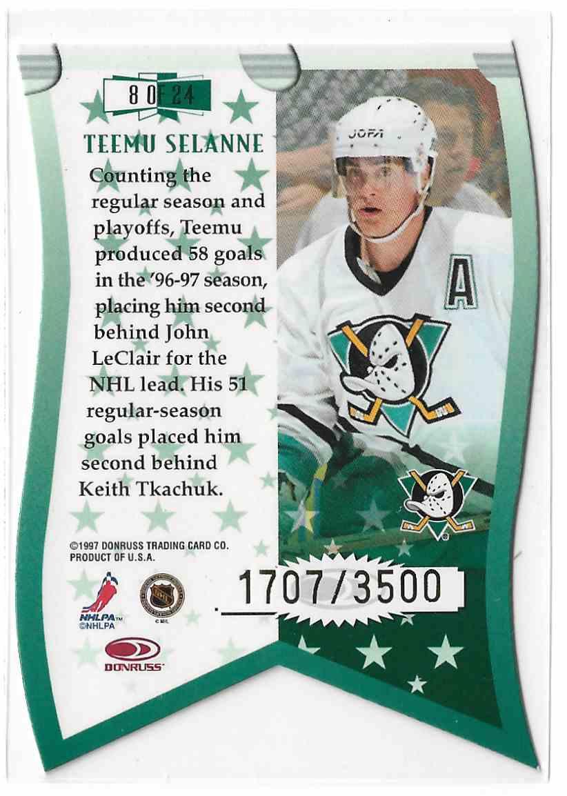 1997-98 Leaf Banner Season Teemu Selanne #8 card back image