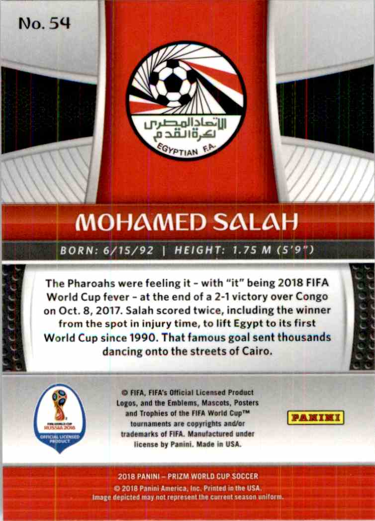 2018 Panini Prizm World Cup Mohamed Salah #54 card back image