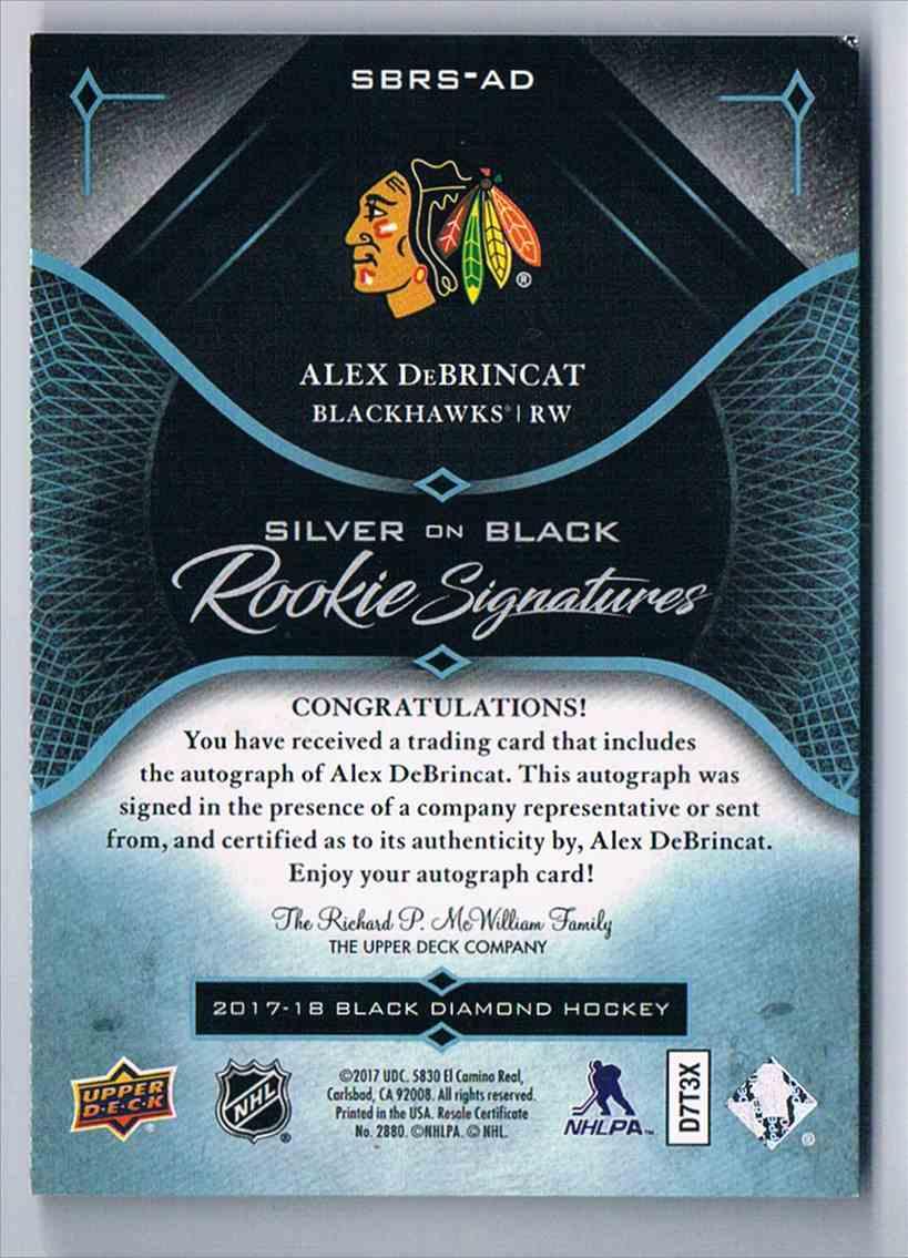 2017-18 Black Diamond Silver On Black Rookies Signatures Alex DeBrincat #SBRS-AD card back image