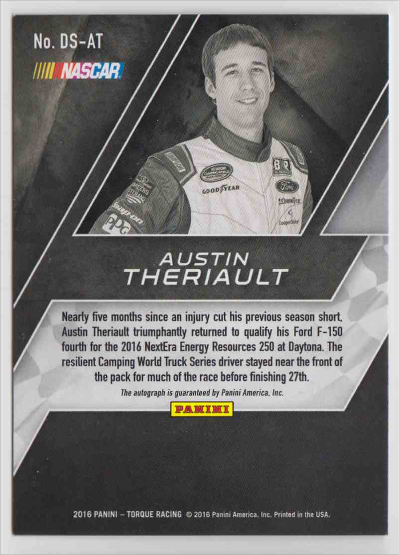 2016 Panini Torque Driver Scripts Austin Theriault #DS-AT card back image