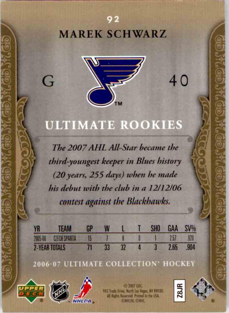 2006-07 Upper Deck Ultimate Collection Marek Schwarz #92 card back image