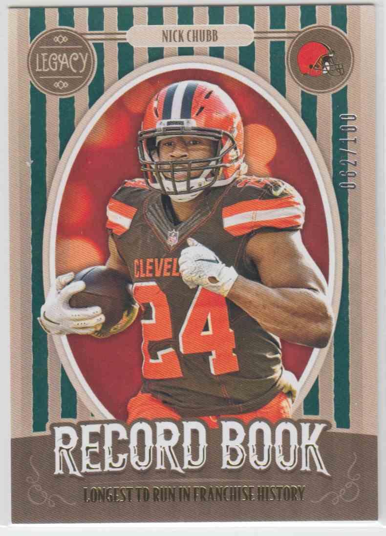2019 Panini Legacy Record Book Green Nick Chubb #RB-NC card front image
