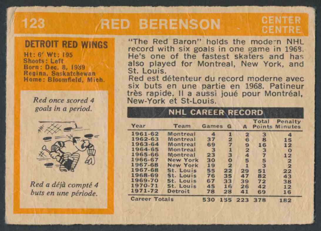 1972-73 O-Pee-Chee Red Berenson card back image