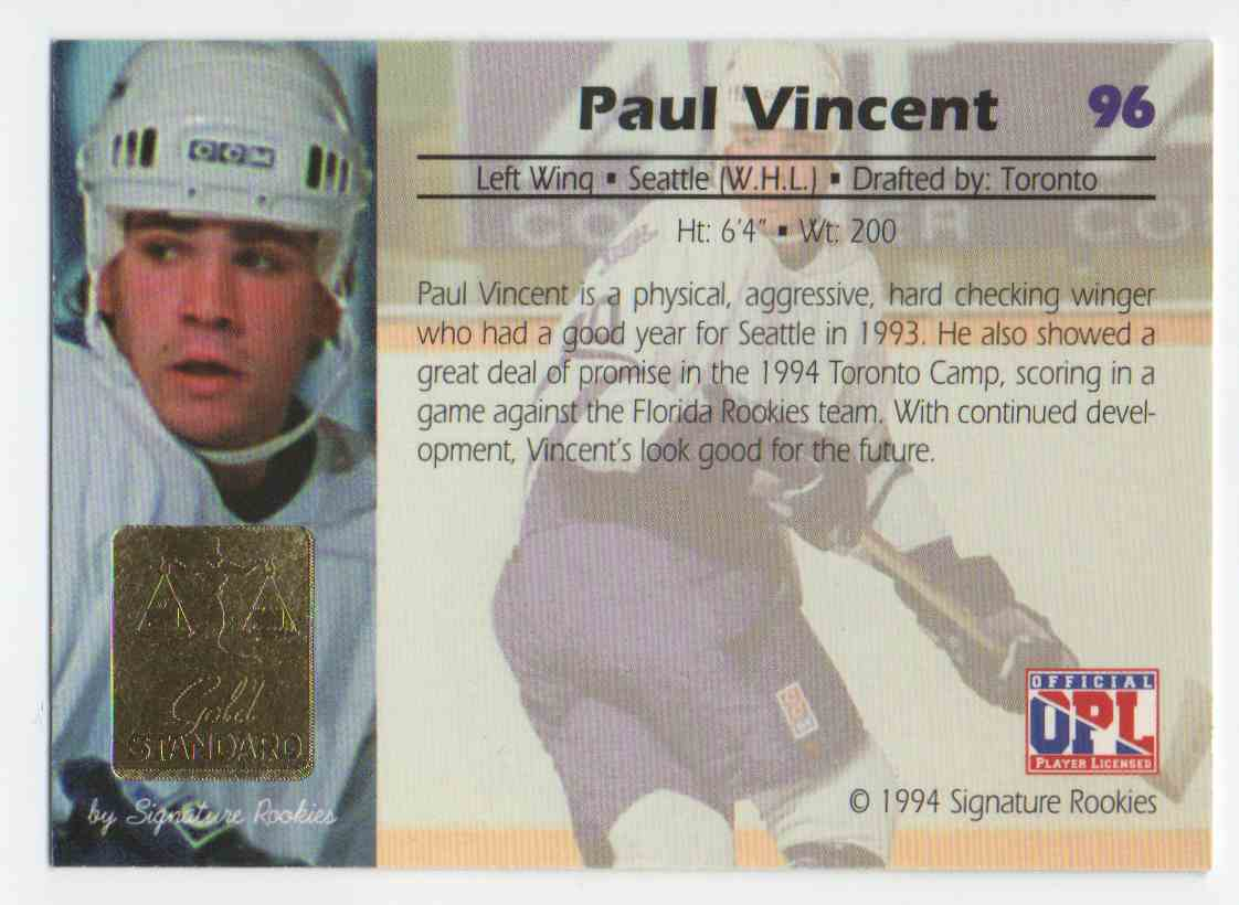 1994-95 Signature Rookies Gold Standard Paul Vincent #96 card back image