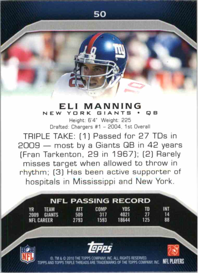 2010 Topps Triple Threads Eli Manning #50 card back image