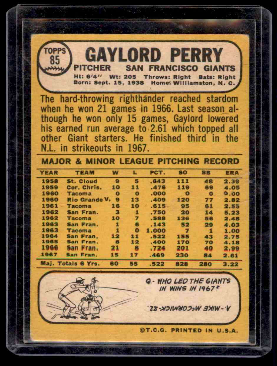 1968 Topps Gaylord Perry #85 card back image