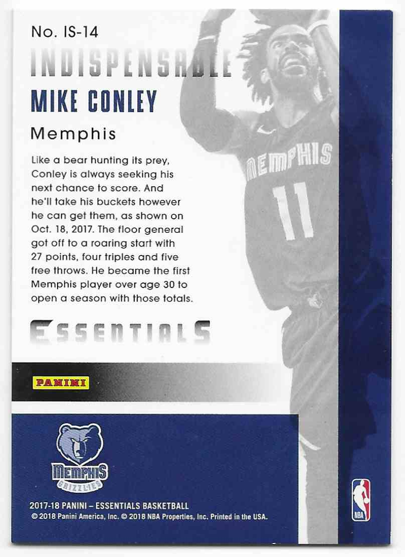 2017-18 Panini Essentials Indispensable Stars Mike Conley #IS-14 card back image
