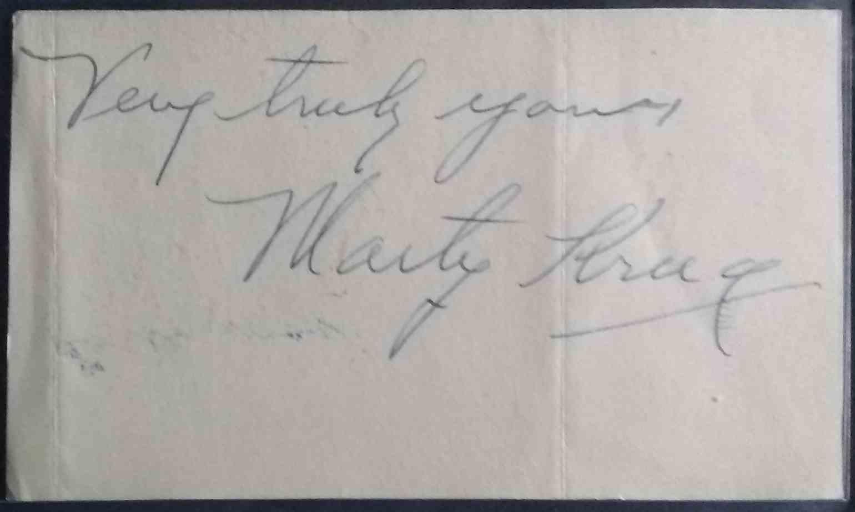 1912 3X5 Sheet Marty Krug card front image