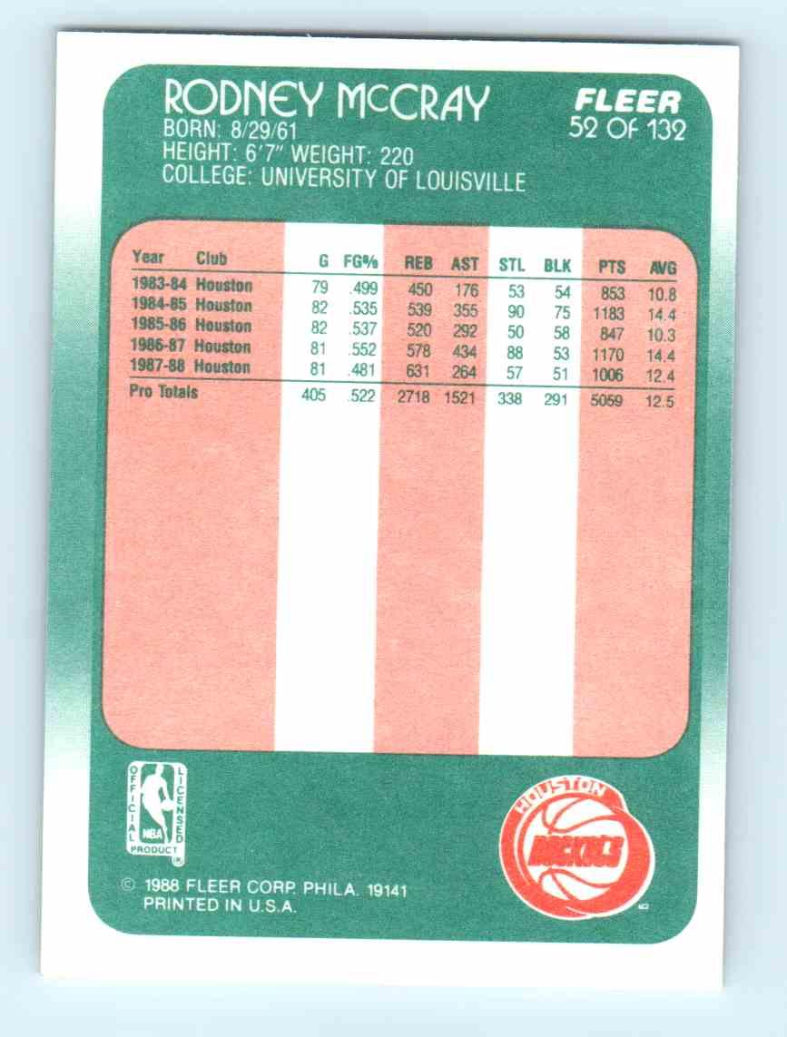 1988 89 Fleer Rodney McCray 52 on Kronozio