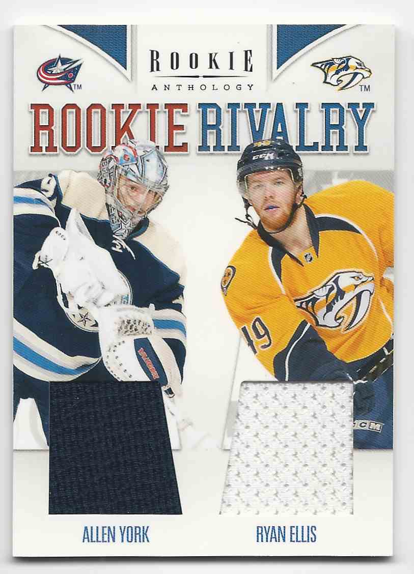 2011-12 Panini Rookie Anthology Rookie Rivalry Dual Jerseys Allen York Ryan Ellis #34 card front image