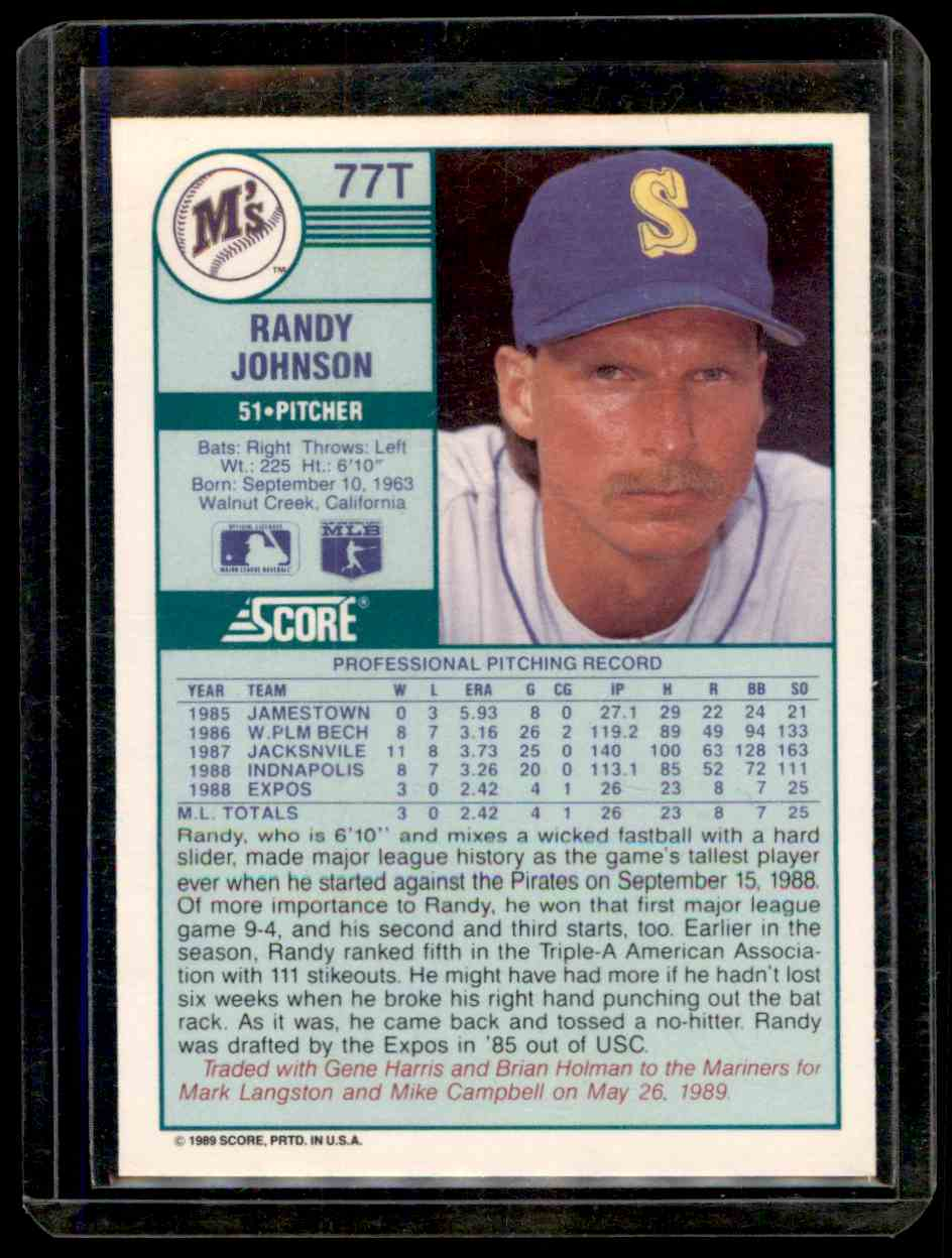 1989 Score Rookie Traded Randy Johnson 77t On Kronozio