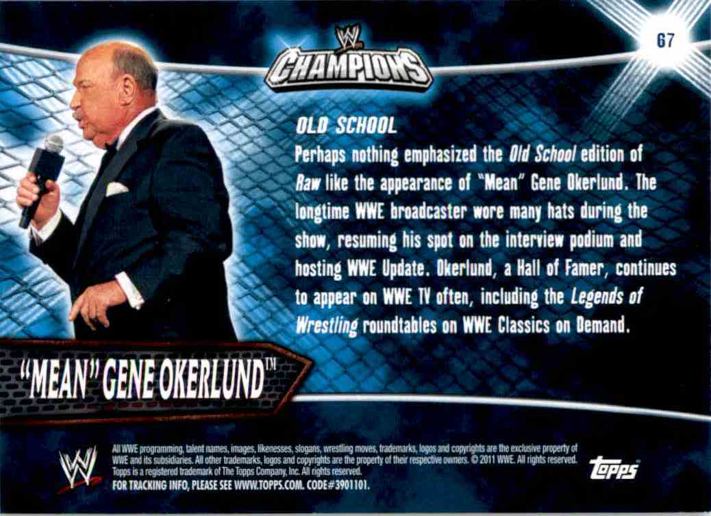 """2011 Topps Wwe Champions """"Mean"""" Gene Okerlund #67 card back image"""