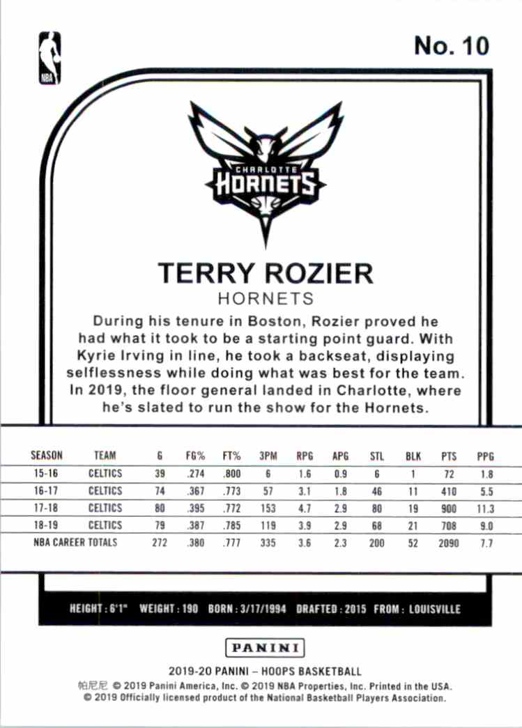 2019-20 Hoops Terry Rozier #10 card back image
