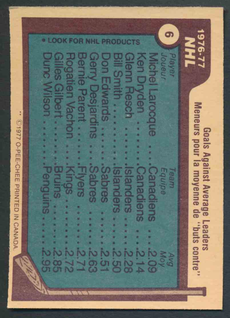 1977-78 O-Pee-Chee Goals Against Average Leaders #6 card back image