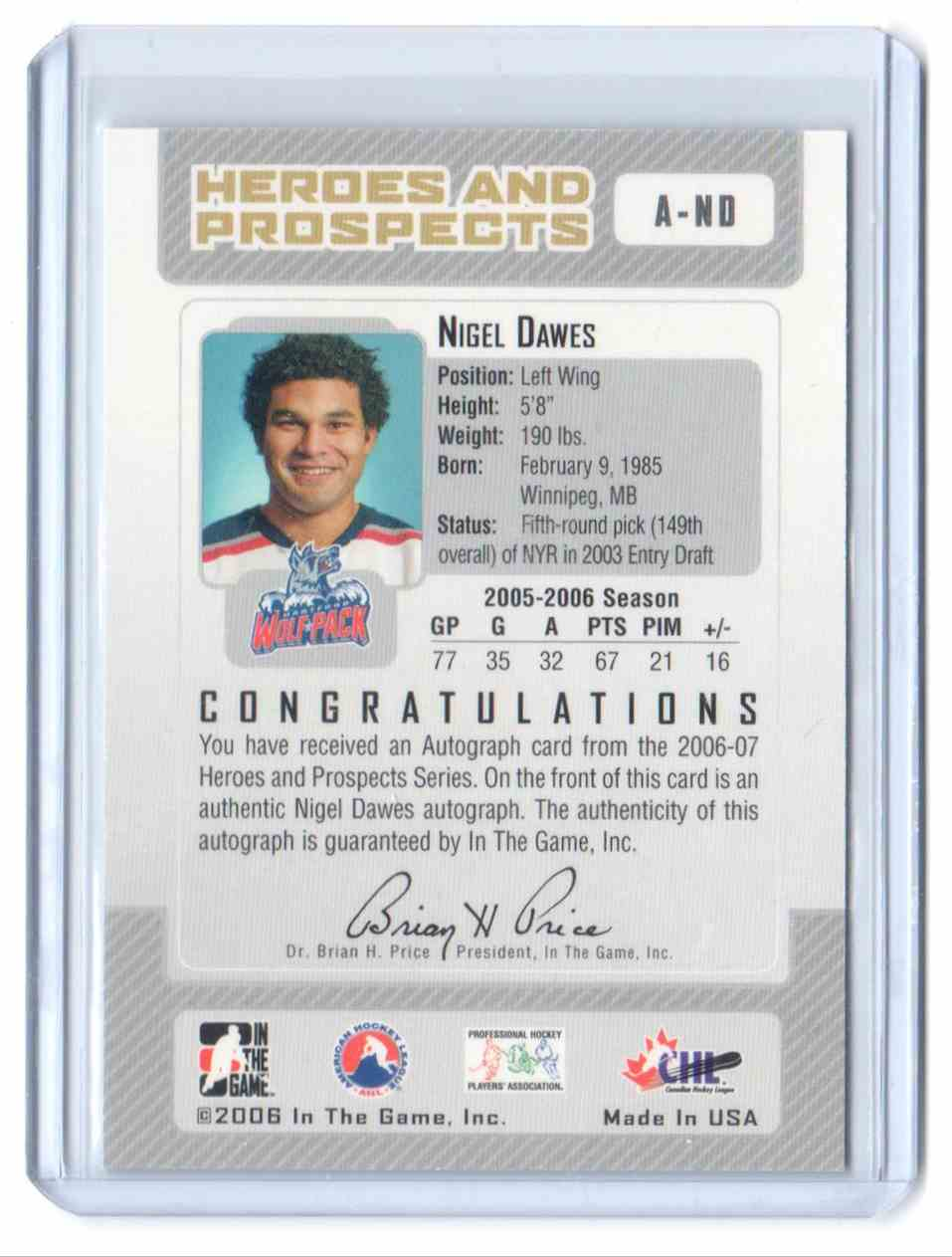 2006-07 In The Game Heroes And Prospects Autographs Nigel Dawes #A-ND card back image
