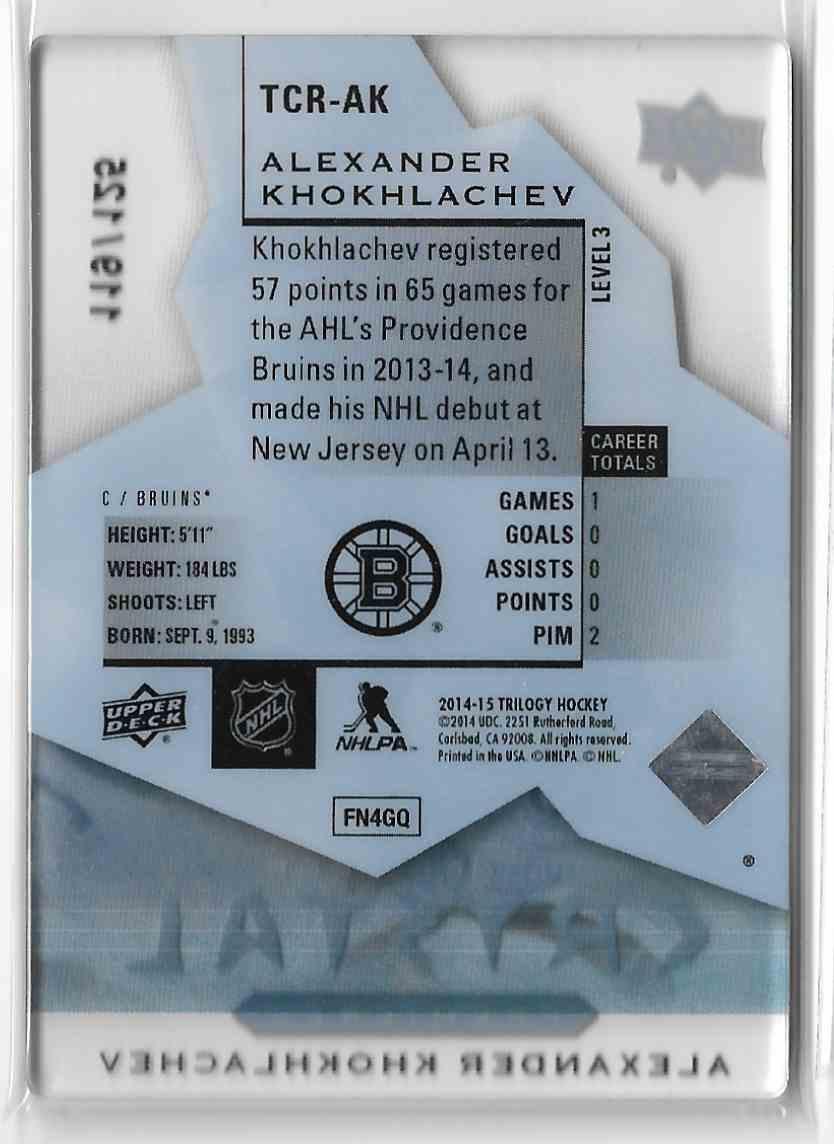 2014-15 Upper Deck Trilogy Crystal Rookies Alexander Khokhlachev #TCR-AK3 card back image
