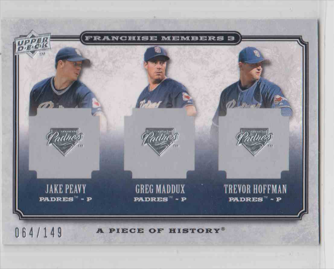 2008 Upper Deck Piece Of History Franchise Members Triple Silver Jake Perry / Greg Maddux / Trenvor Hoffman #FM3-16 card front image