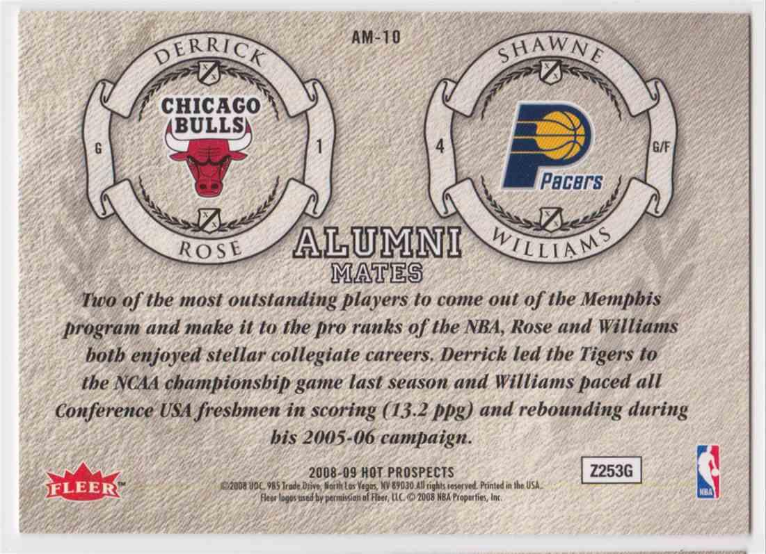 2008-09 Fleer Hot Prospects Alumni Mates Derrick Rose Shawne Williams #AM-10 card back image