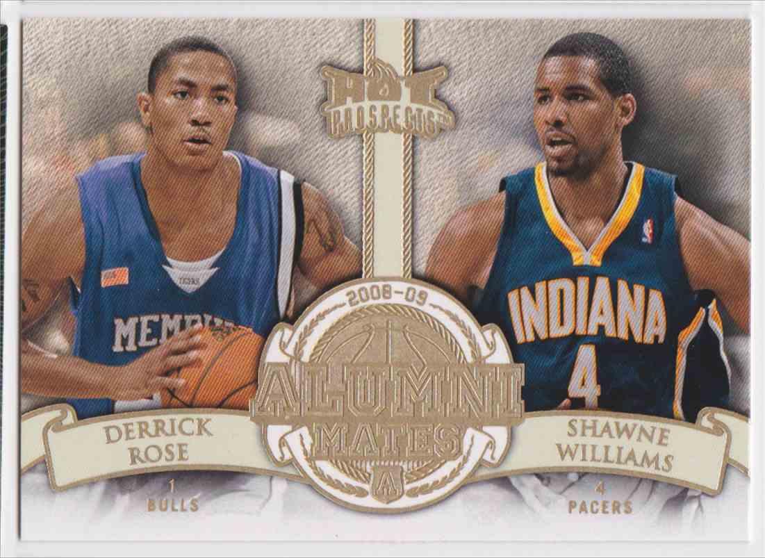 2008-09 Fleer Hot Prospects Alumni Mates Derrick Rose Shawne Williams #AM-10 card front image
