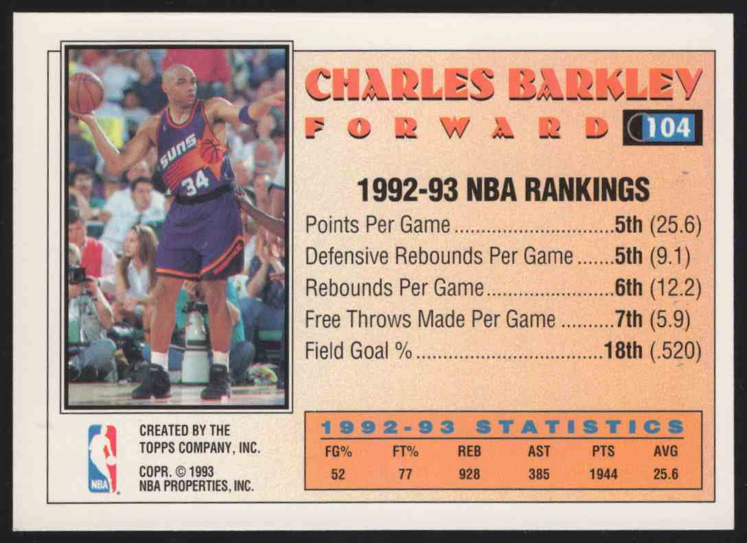 1993-94 Topps Gold Charles Barkley As #104 card back image