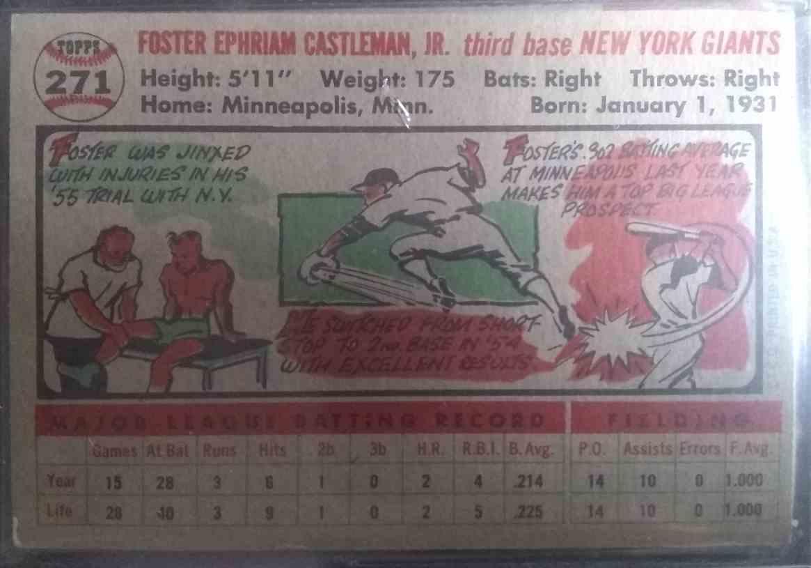 1956 Topps Foster Castleman #271 card back image