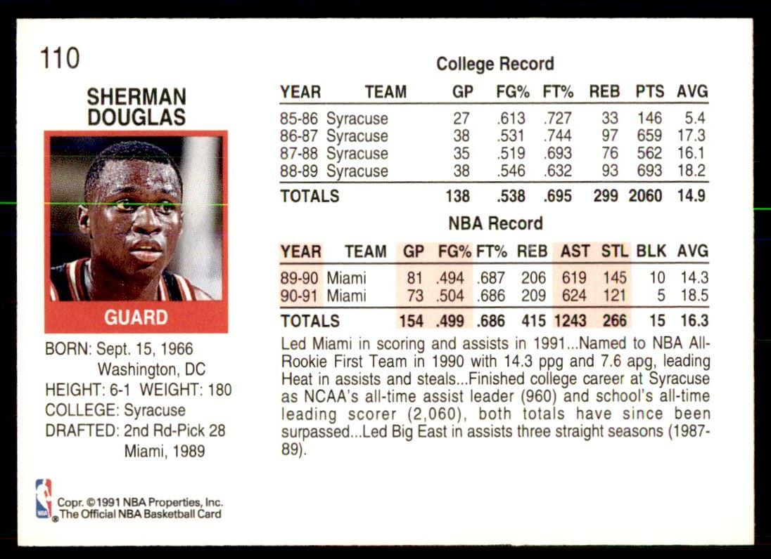 1991 92 Nba Hoops Sherman Douglas 110 on Kronozio