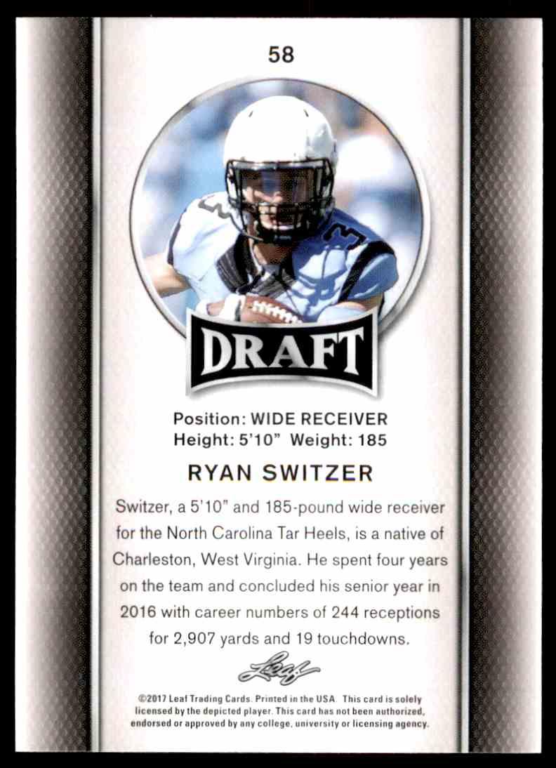 2017 Leaf Draft Ryan Switzer #58 card back image