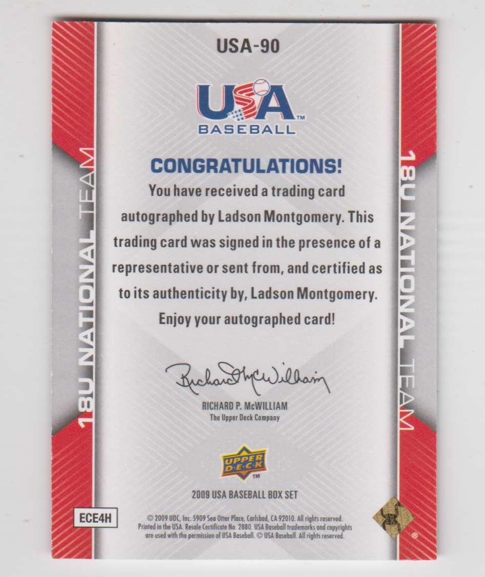 2009 2009-10 Upper Deck USA Baseball Ladson Montgomery #USA-90 card back image