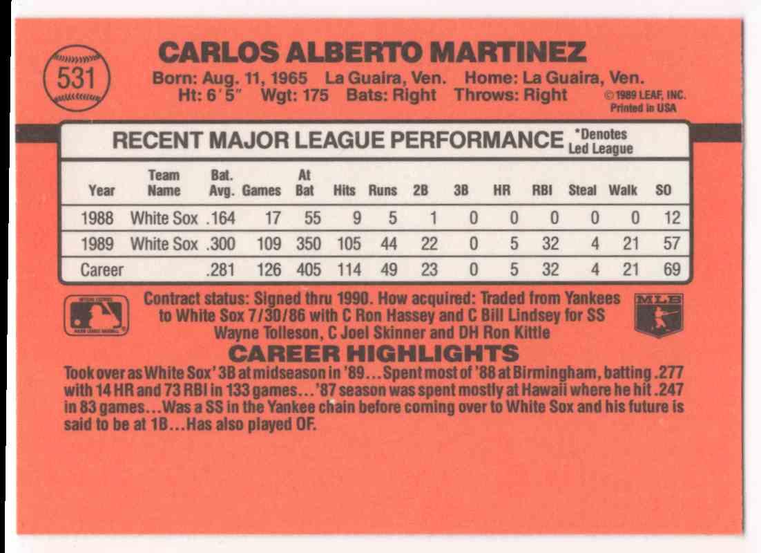 1990 Donruss Carlos Martinez #531 card back image