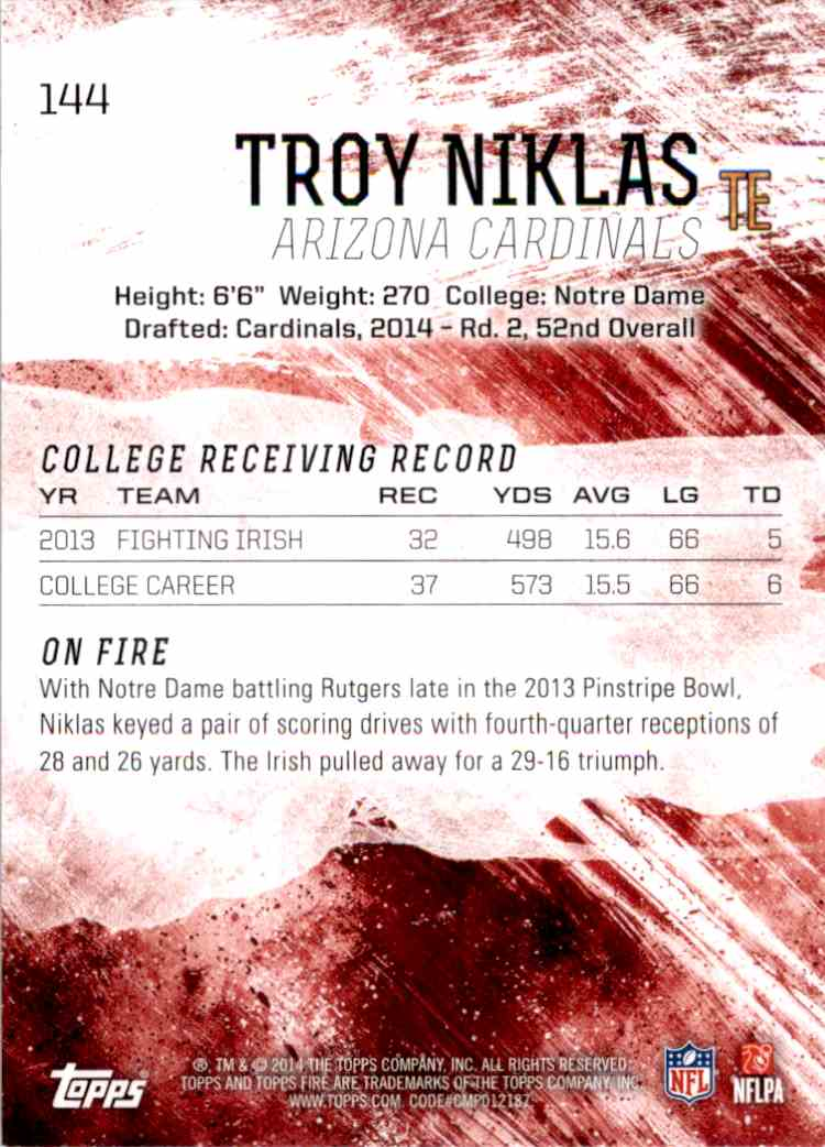 2014 Topps Fire Troy Niklas RC #144 card back image