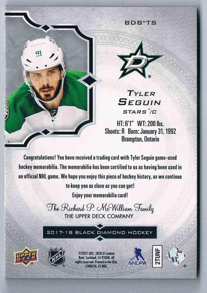 Real Card Back Image 2017 18 Upper Deck Black Diamond Relics Tyler Seguin Bdb Ts Card Back