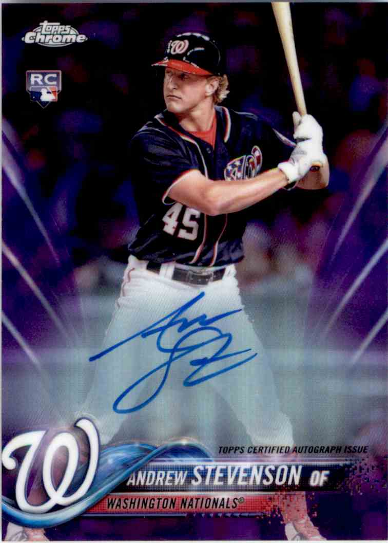 2018 Topps Chrome Purple Refractor Autograph Andrew Stevenson #RA-AS card front image