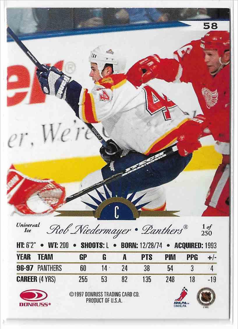 1997-98 Leaf International Universal Ice Rob Niedermayer #58 card back image