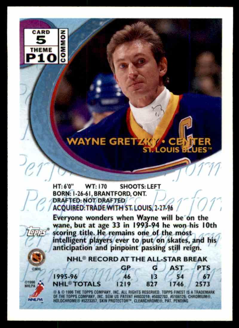 1995-96 Topps Finest Wayne Gretzky #5 card back image