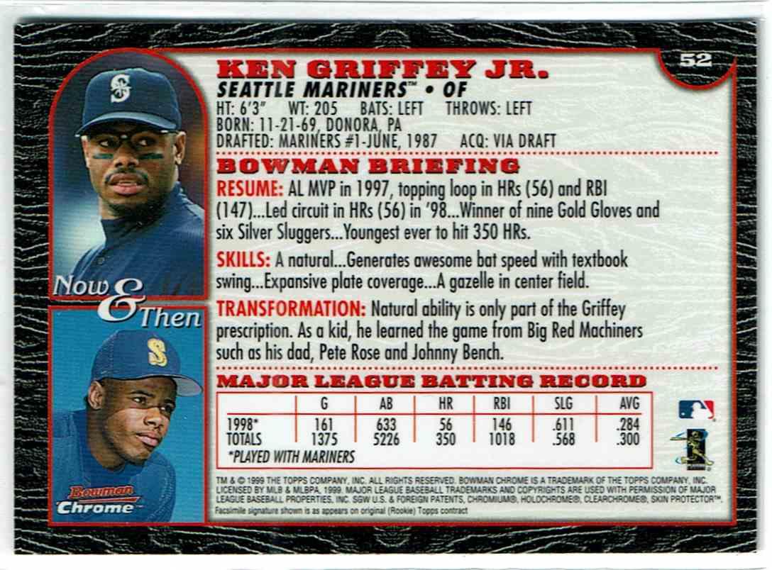 1999 Bowman Chrome Ken Griffey JR. #52 card back image