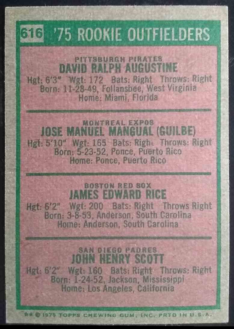 1975 Topps Jim Rice Dave Augustine Pepe Mangual John Scott #616 card back image