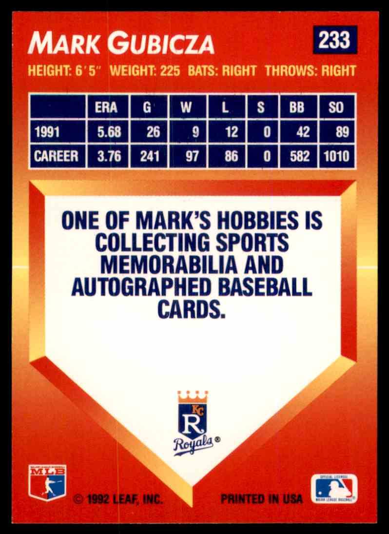 1992 Donruss Triple Play Leaf Mark Gubicza #233 on Kronozio