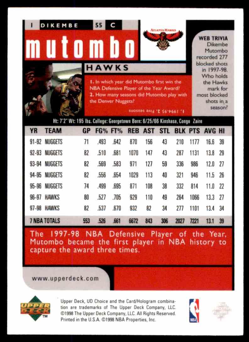 1998-99 UD Choice Dikembe Mutombo #1 card back image