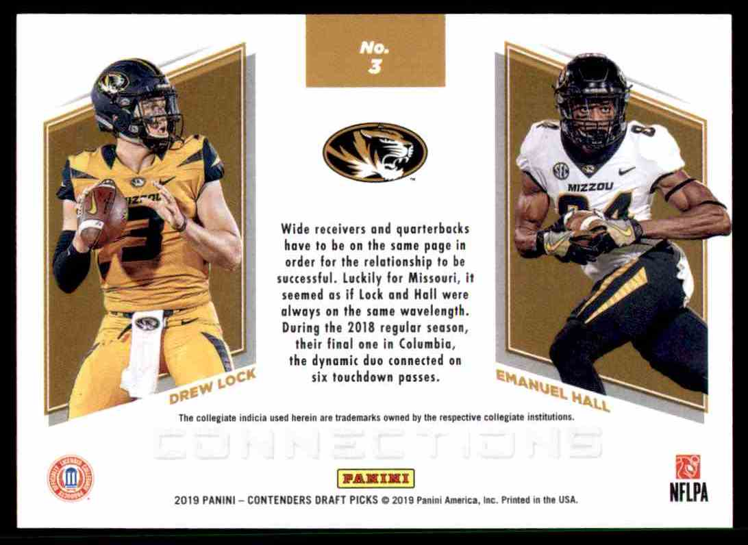 best loved 7500b d413d 2019 Contenders Draft Connections Drew Lock/Emanuel Hall on ...