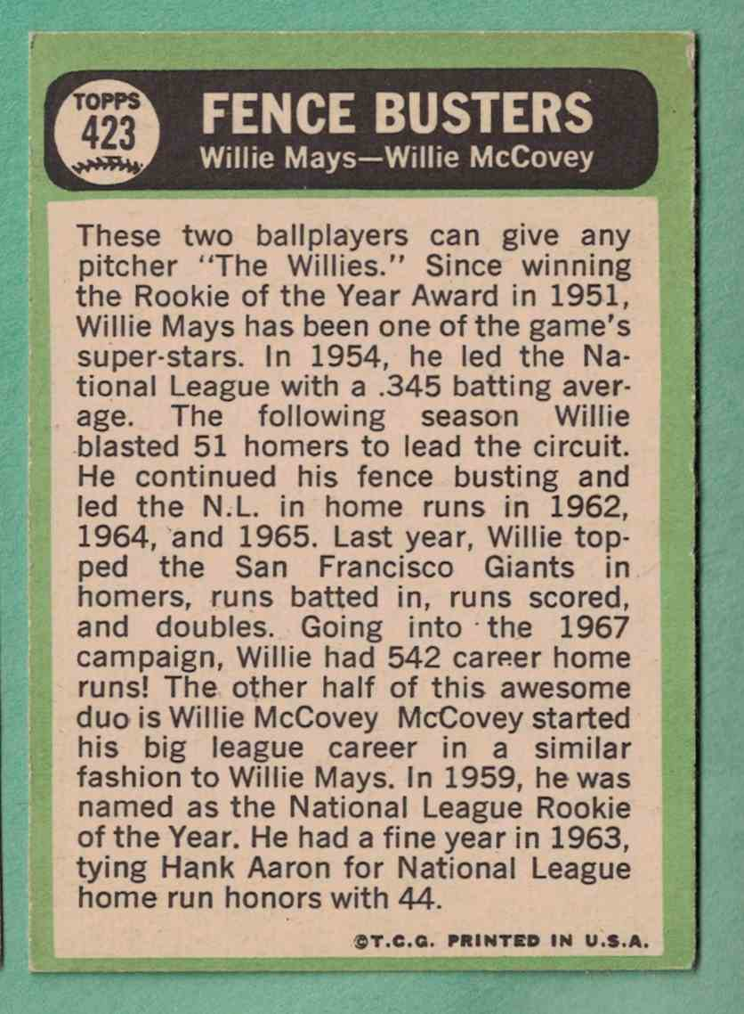 1967 Topps Willie McCovey EX surface scratch #423 card back image