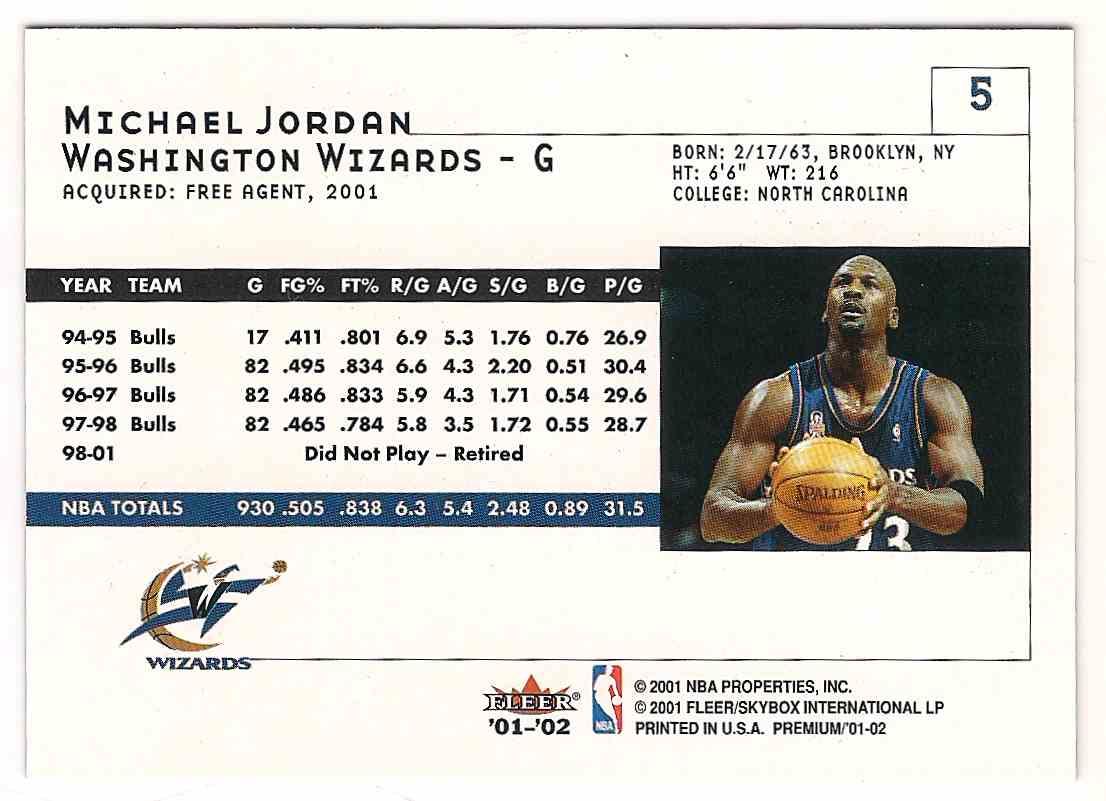 2001-02 Fleer Premium Michael Jordan #5 card back image