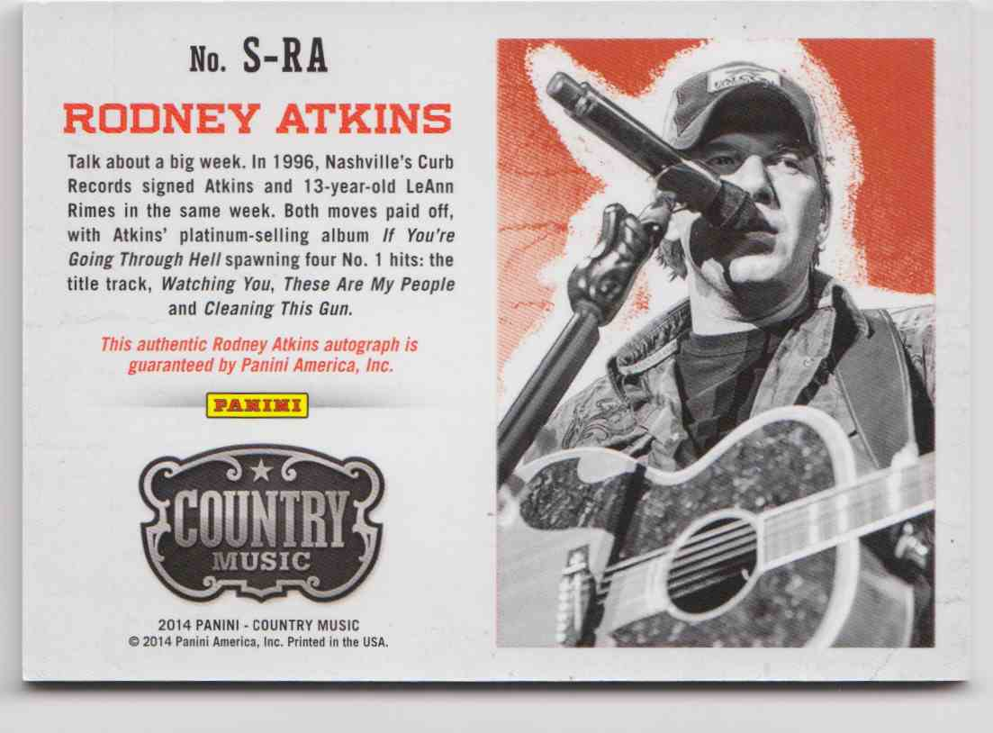 2014 Panini Country Music Blue Rodney Atkins #S-RA card back image