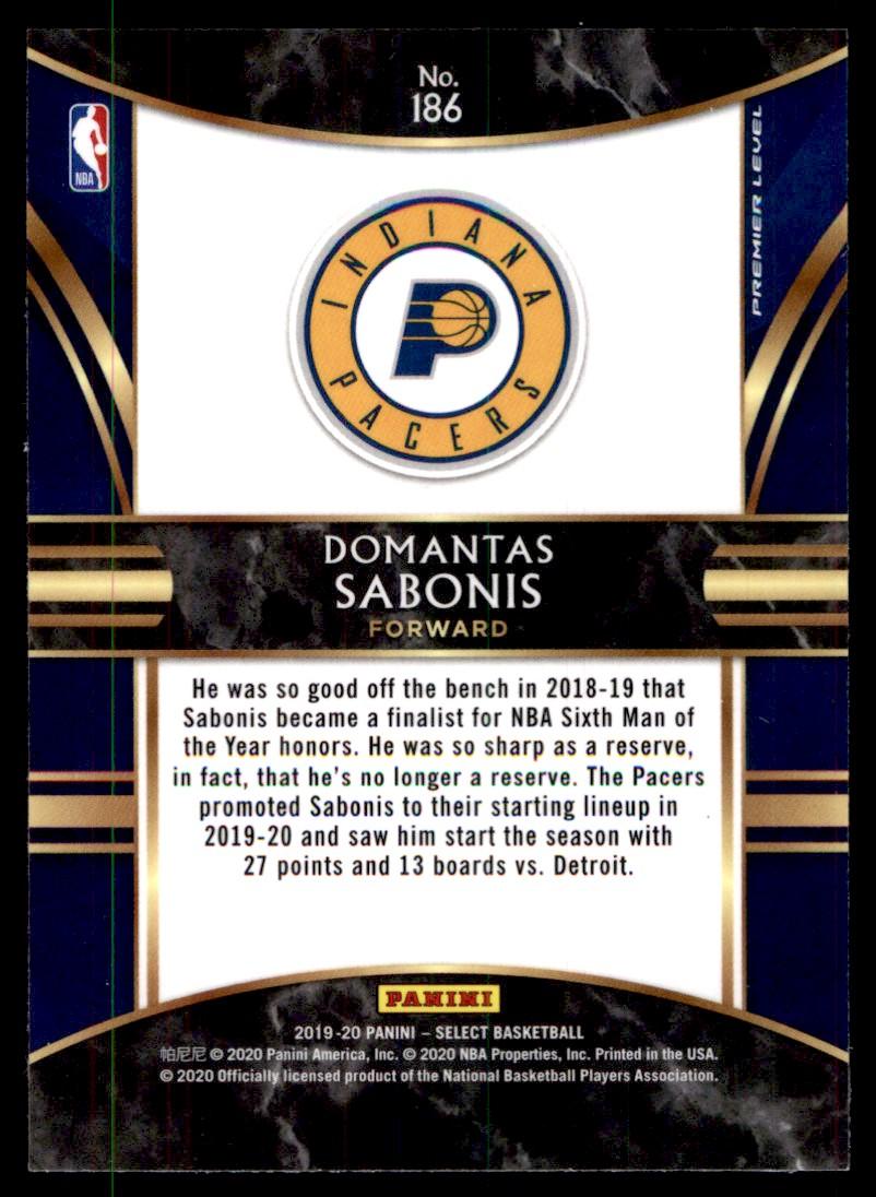2019-20 Panini Select Domantas Sabonis #186 card back image